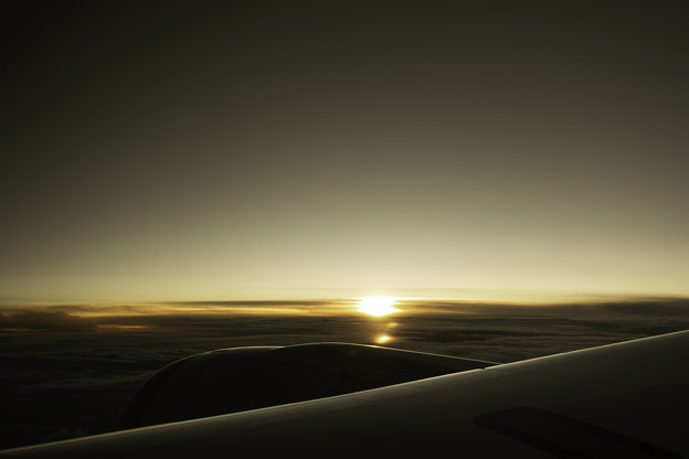 上空から見る夕焼け