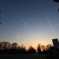 写真: 飛行機雲