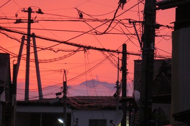 夕焼けと山頂