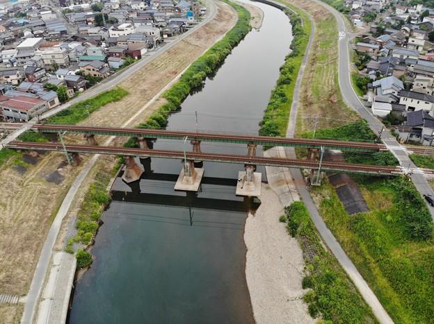 信越本線の鉄橋上空