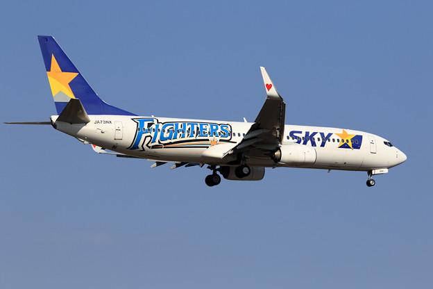 "B737 SKY ""FIGHTERS"" JA73NX approach"