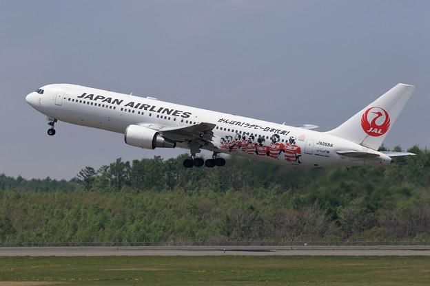 Boeing767 JAL JA8986 ラグビー塗装機takeoff