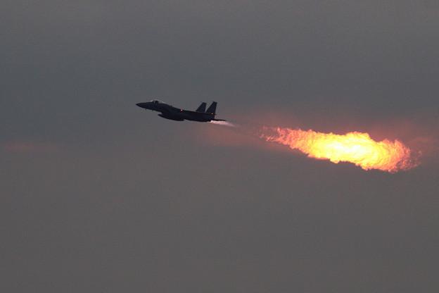 F-15J 203sq Afterburner and Sunset