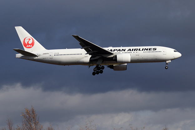 Boeing777 JAL 雨雲さり