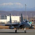 F-15J 900 201sqと白くなった芦別岳