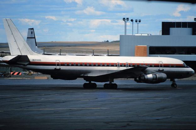 DC-8-53 OB-R-1223 (exJA8008) at ANC 1981.07
