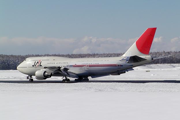 B747-446 JA8907 JAL  沖縄就航50周年 CTS 2004.02 (2)
