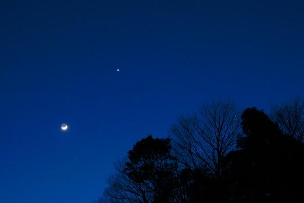 三日月と一番星のランデブー