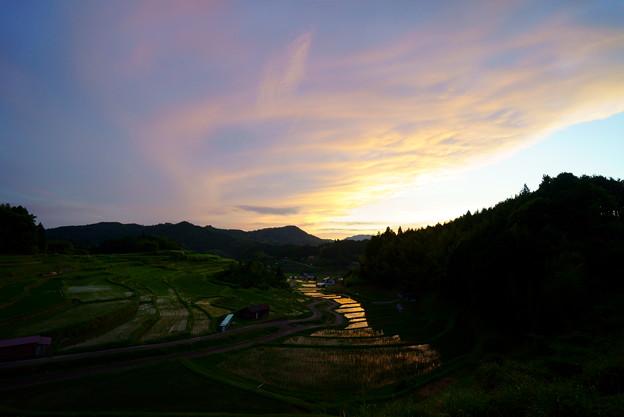 棚田の夕空