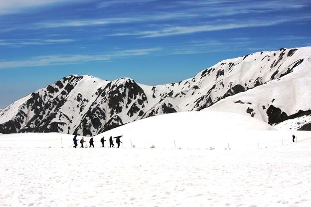 雪山を歩く人達