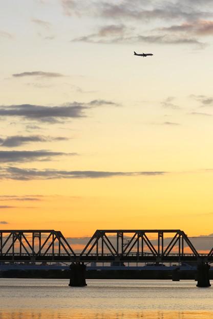 赤川鉄橋の夕景
