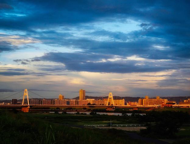 夕陽に染まる町