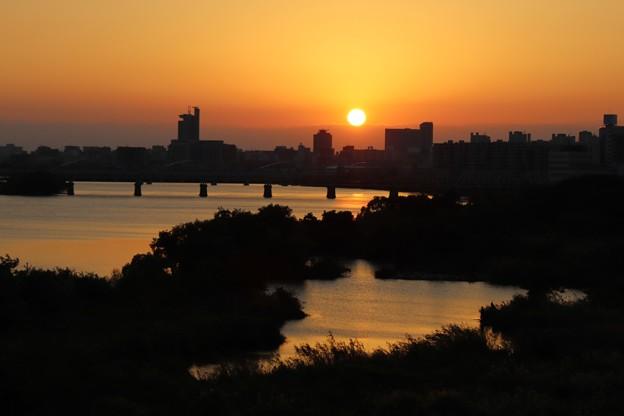 淀川の夕陽