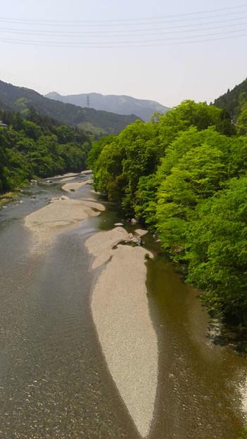 軍畑大橋から多摩川と山