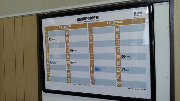 区界駅時刻表