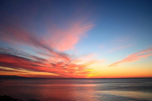 写真: オホーツク海の夕景 160930 02