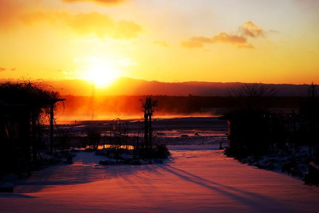 地吹雪の朝