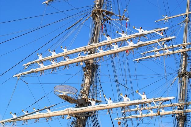 帆船日本丸遠洋航海出港、登檣礼(とうしょうれい)