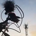 Photos: 夕日に染まる配信機材と電波塔