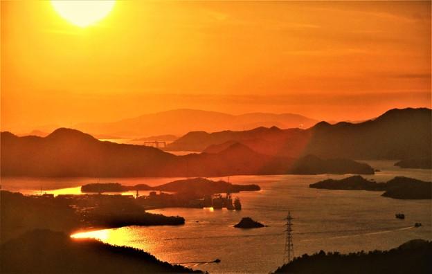 写真: 輝く海峡・布刈瀬戸@しまなみ海道@高見山山頂からの展望