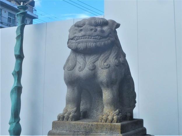 嵐の前の大きな狛犬(東側・吽形)@尾道市役所前