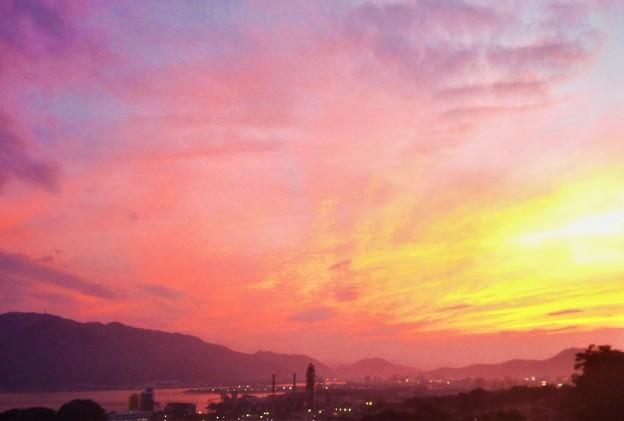 秋の夕陽@糸崎の丘