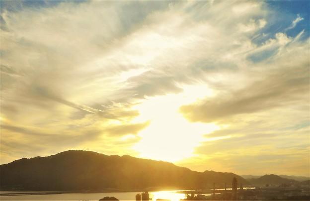 筆影山の夕暮れ@沼田川(ぬたがわ)河口の輝き@糸崎の丘