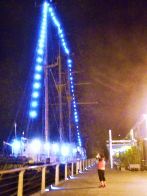 帆船「みらいへ」ライトアップ@神戸船籍
