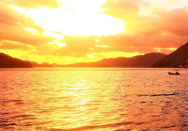 師走の夕陽@瀬戸の海