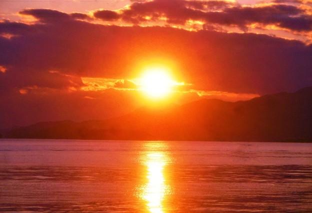 早春の瀬戸の夕陽@燧灘