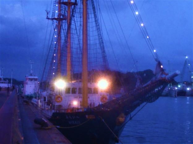 帆船「みらいへ号」(神戸船籍)が寄港中@瀬戸内海・尾道港