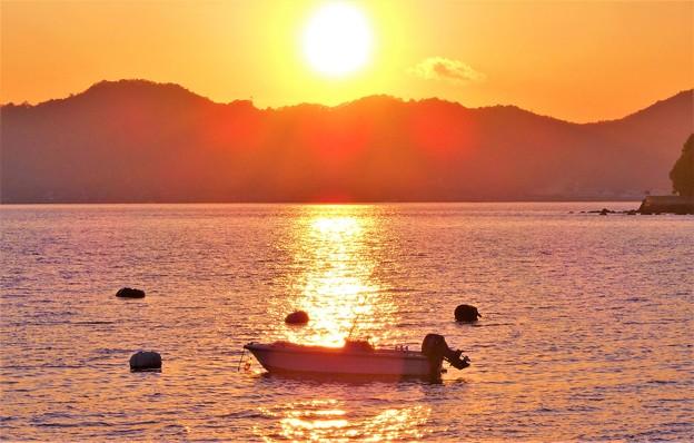 瀬戸の夕陽@師走の海