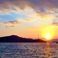 正月二日の荒海の夕陽@瀬戸内海・海保前