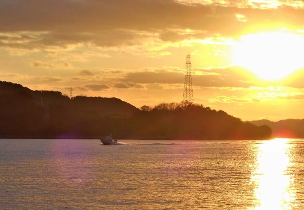 新春の赤石の鼻の夕陽@瀬戸内海2020.1.5