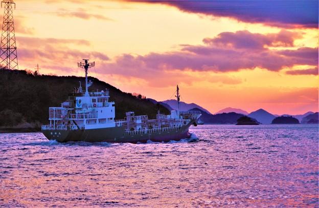 新春の夕暮れの海をゆく菱伸丸2020.1.13