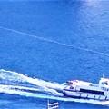 新春の尾道水道を航行する中型客船@瑠璃山山頂展望台