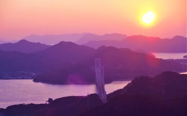 因島大橋の夕陽@高見山展望台20.2.4