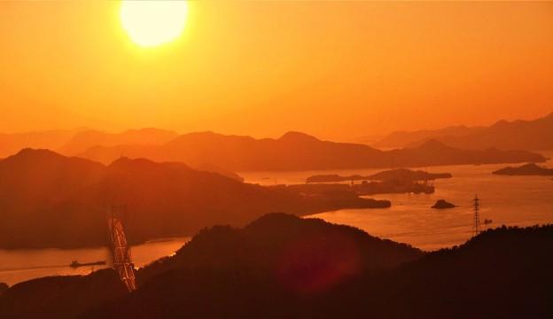 立春のしまなみ海道の夕暮れ@高見山展望台