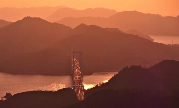 立春のしまなみ海道夕景色@高見山展望台
