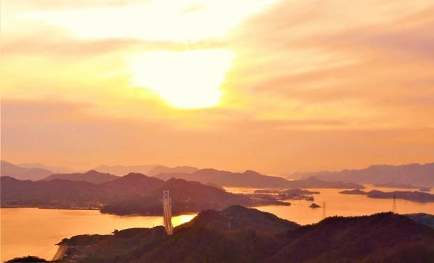 しまなみ海道・布刈の瀬戸の夕景色@高見山展望台