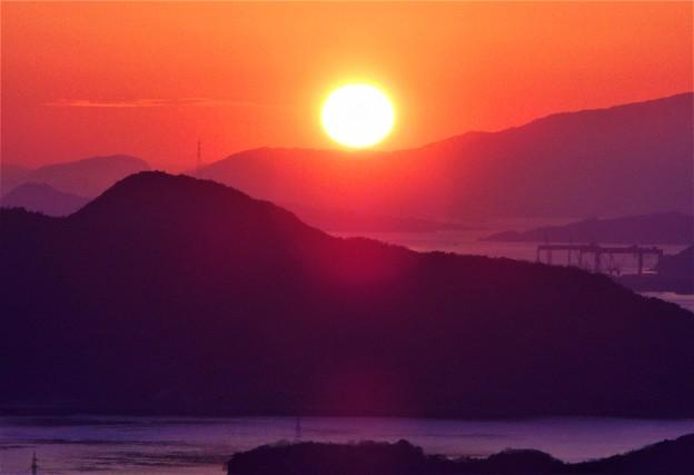 しまなみ海道の夕陽@高見山展望台2020.2.13