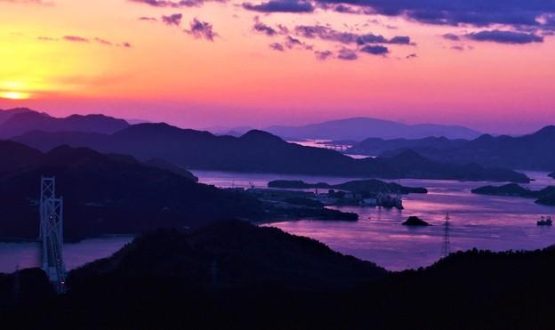 新春の夕暮れ@しまなみ海道・布刈瀬戸21.1.4