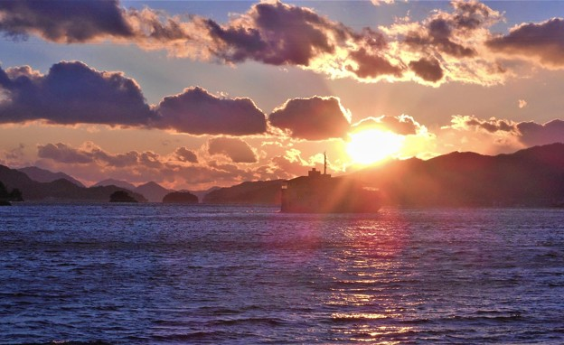 新春の夕暮れに@クルーズ客船ガンツウ丸@瀬戸内海21.1.9