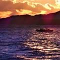 燧灘の荒れた海とテンダーボート