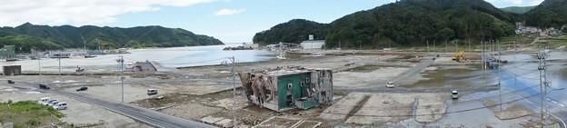 台風で浸水した女川町中心部(震災による地盤沈下)_120620_07