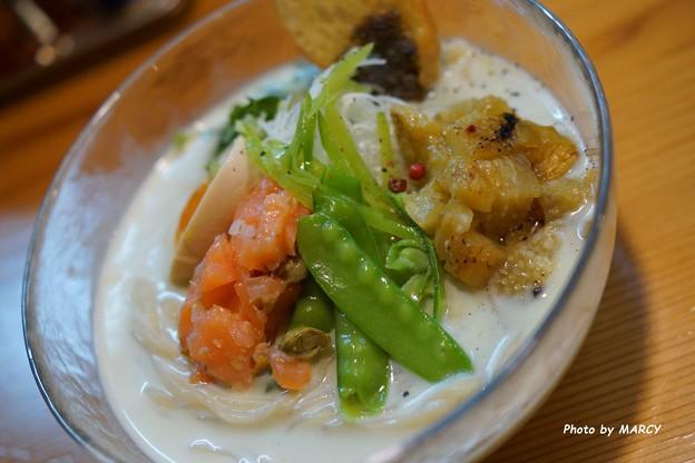 はりけんラーメン南店@そら豆とじゃがいもの冷製ポタージュ麺