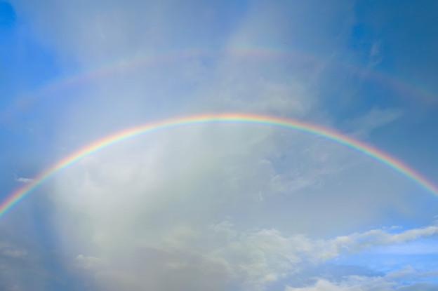 夜明けの二重虹3