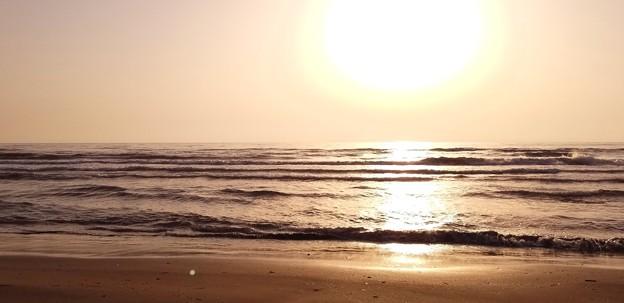 写真: 千里浜の夕日