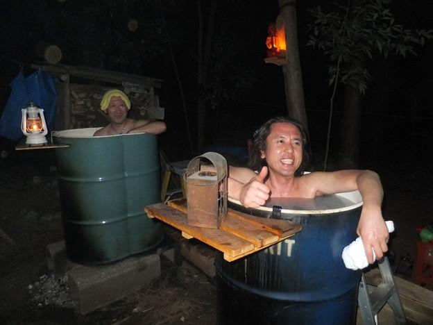 ライダーが月見風呂