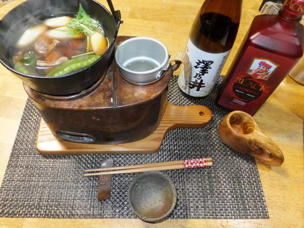 ヒヨドリ鍋と熱燗